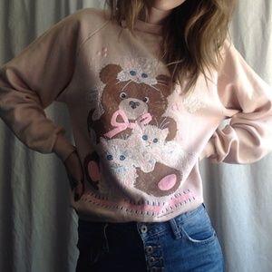 <VTG> Kittens & Teddy Bear GMA Sweater